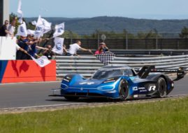 Volkswagen ID.R breaking the e-record at the Nürburgring-Nordschleife in 6:05.336 min, driver Romain Dumas